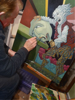 bob olley painting at his easel